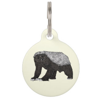 Honey Badger Fearless With Attitude Animal Design Pet Name Tag