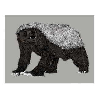 Honey Badger Fearless With Attitude Animal Design Postcard