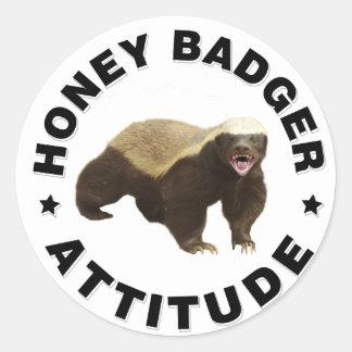 Honey badger has attitude round sticker