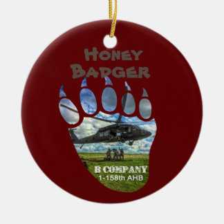 Honey Badger &  Helicopter Ceramic Ornament