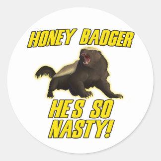 Honey Badger He's So Nasty Round Sticker
