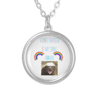 Honey badger is my spirit animal silver plated necklace