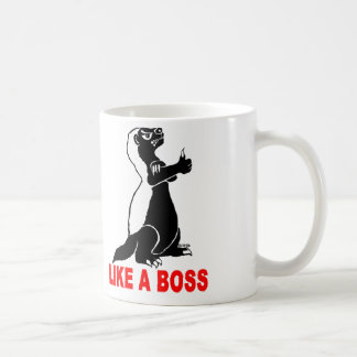 Honey badger, like a boss classic white coffee mug
