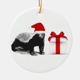 Honey Badger Merry Christmas Ceramic Ornament