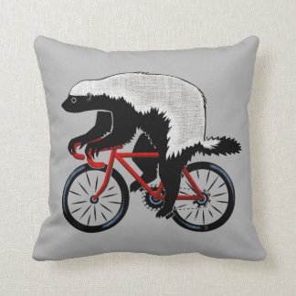 Honey Badger On a Bicycle Throw Pillow