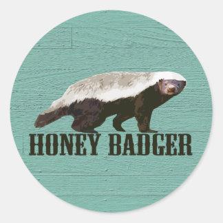 Honey Badger Profile View Round Sticker