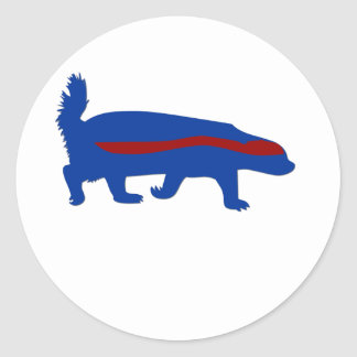 honey badger red and blue round sticker