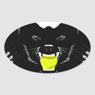 Honey Badger Softball Oval Sticker