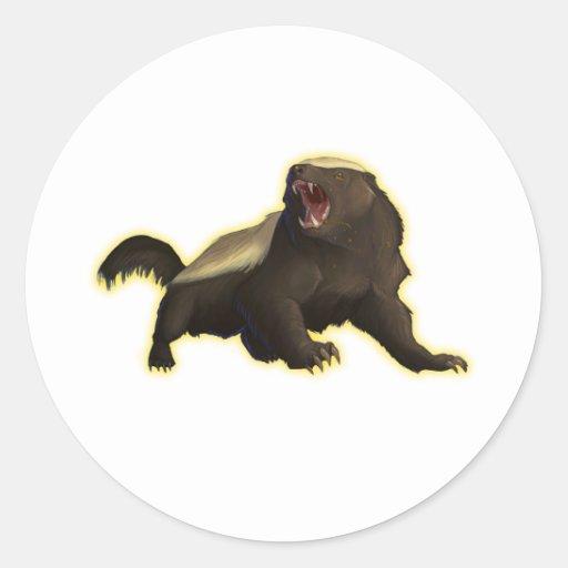 Honey Badger Round Stickers