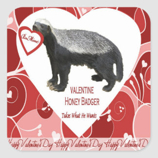Honey Badger Valentine's Day Stickers