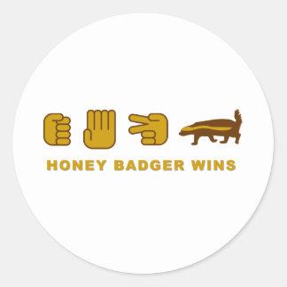 honey badger wins classic round sticker