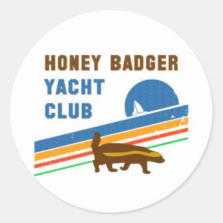 honey badger yacht club round sticker