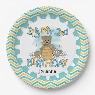 Honey Bear 2nd Happy Birthday Paper Plates