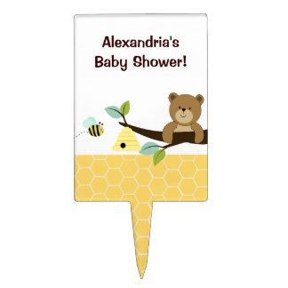 Honey Bear and Bee Baby Shower Cake Topper Pick