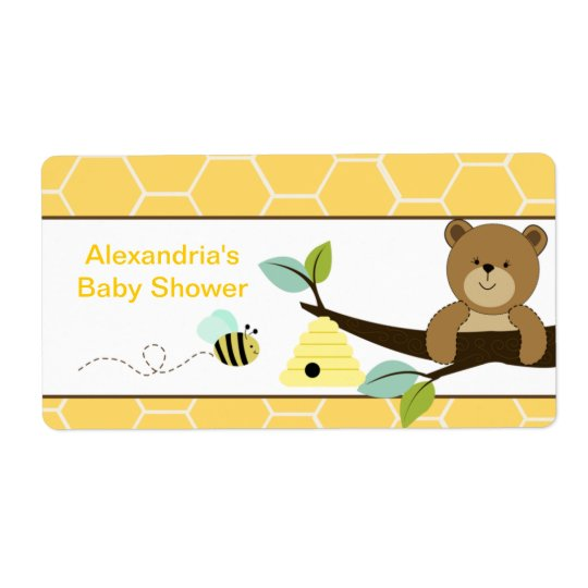 Honey Bear and Bee Large Water Bottle Sticker Shipping Label