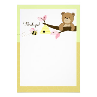 Honey Bear and Bee (Pink) Flat Thank You notes Invitation