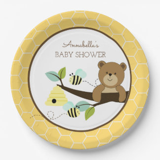 Honey Bear and Bumble Bee Baby Shower Plate 9 Inch Paper Plate