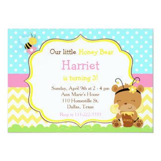 Honey Bear and Bumble Bee Birthday Card