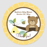 Honey Bear and Bumble Bee Round Favour Sticker
