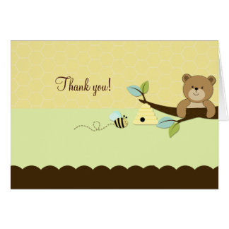 HONEY BEAR & BEE Folded Thank you note Card