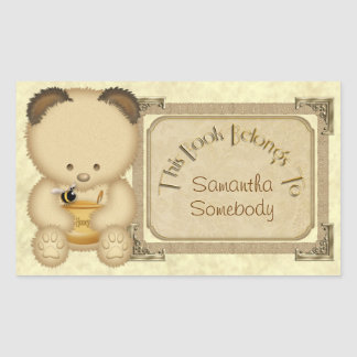 Honey Bear Bookplate Stickers