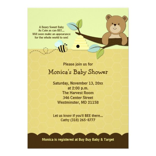 Honey Bear & Bumble Bee Baby Shower Invitation