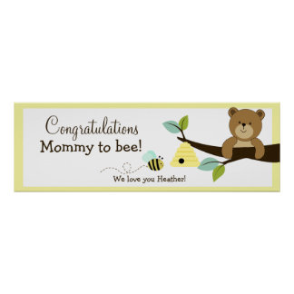 Honey Bear Custom Baby Shower Banner Print