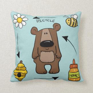 Honey Bear- The Recycler Throw Pillow
