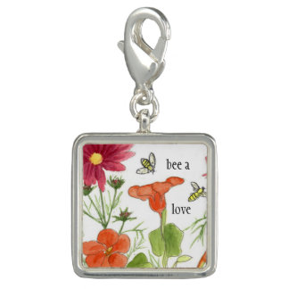 Honey Bee A Love Orange Nasturtium Flowers Photo Charm