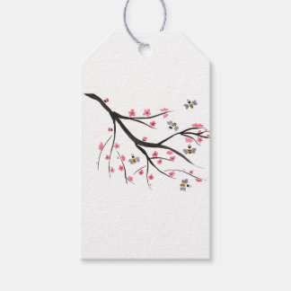 Honey Bee And Cherry Blossoms Gift Tags