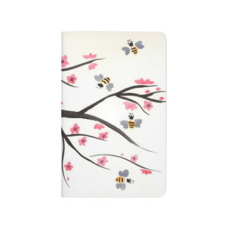Honey Bee and Cherry Blossoms Pocket Journal