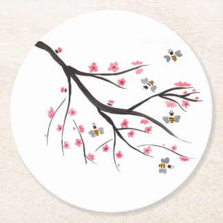 Honey Bee And Cherry Blossoms Round Paper Coaster
