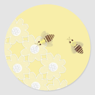 Honey Bee and Daisy Lace Round Stickers