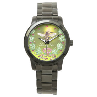 HONEY BEE AND GREEN FLORAL CROWN Beekeeper Yellow Watch