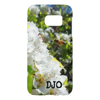 Honey Bee and Pear Blossom with your initials Samsung Galaxy S7 Case