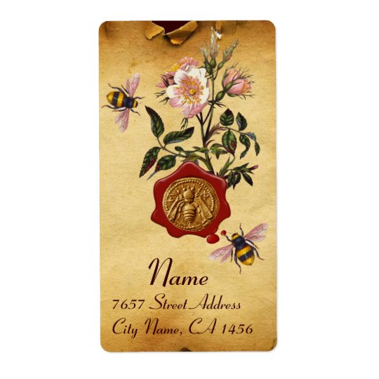 HONEY BEE AND WILD ROSES ,BEEKEEPER RED WAX SEAL SHIPPING LABEL
