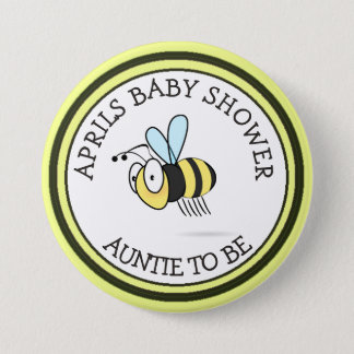 Honey Bee Baby Shower Aunt to Be Button
