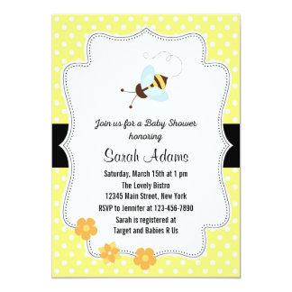 "Honey Bee Baby Shower Invitation Yellow 5"" X 7"" Invitation Card"