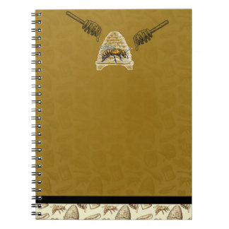 Honey Bee Beehive Golden Yellow Vintage Chic Notebook