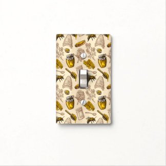 Honey Bee Beehive Golden Yellow Vintage Organic Light Switch Cover
