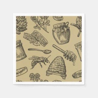 Honey Bee Beehive Vintage Organic Natural Rustic Paper Napkins
