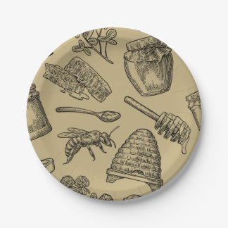 Honey Bee Beehive Vintage Organic Natural Rustic Paper Plate