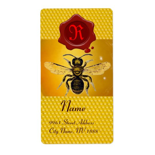 HONEY BEE ,BEEKEEPER,RED WAX SEAL  MONOGRAM