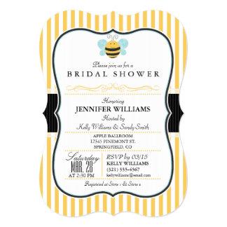 "Honey Bee Bridal Shower Invite; Yellow Stripes 5"" X 7"" Invitation Card"