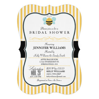 Honey Bee Bridal Shower Invite; Yellow Stripes