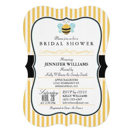 Honey Bee Bridal Shower Invite; Yellow Stripes