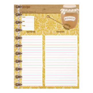 Honey Bee Cookbook Insert Letterhead