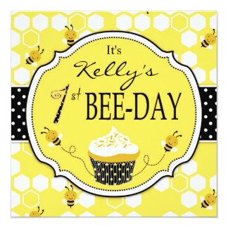 Honey Bee Cupcake First Birthday Invitation 2