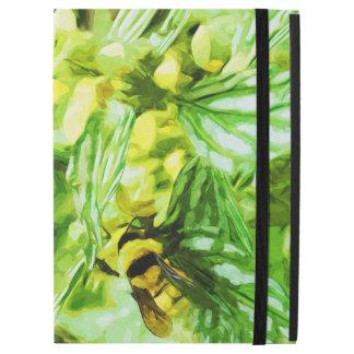 Honey Bee Gathering Pollen in Abstract