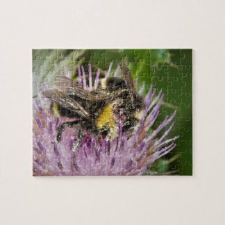 Honey bee gathering pollen on spiky purple thistle puzzles